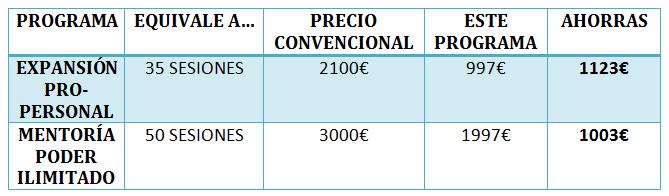 tabla precios expansion y mentoria